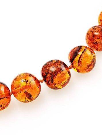 Classy Cognac Amber Ball Beaded Necklace, image , picture 4