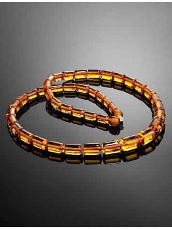 Cognac Amber Barrel Beaded Necklace, image , picture 2