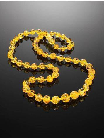 Chic Lemon Amber Ball Beaded Necklace, image , picture 2