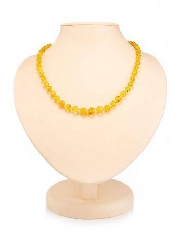 Chic Lemon Amber Ball Beaded Necklace, image