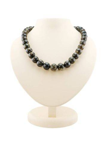Black Amber Ball Beaded Necklace The Meteor, image