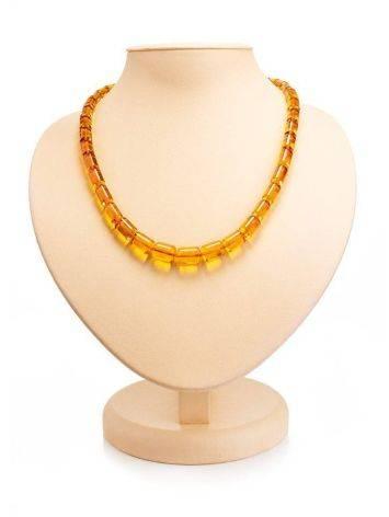 Cognac Amber Barrel Beaded Necklace, image