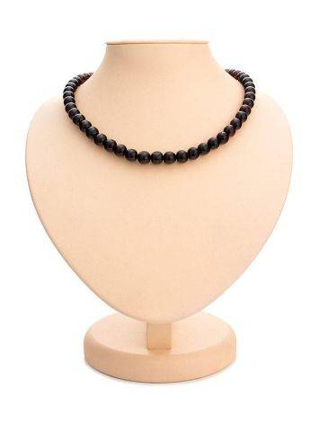 Dark Cherry Amber Ball Beaded Necklace, image