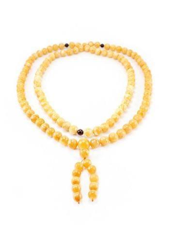 108 Honey Amber Mala Beads With Dangle, image