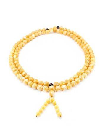 Vintage Style Honey Amber Buddhist Prayer Beads With Dangle, image