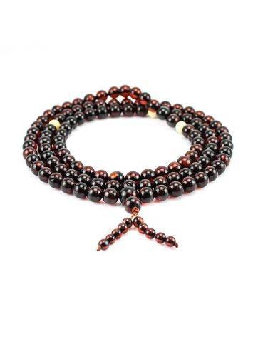 108 Dark Cherry Amber Mala Beads With Dangle, image