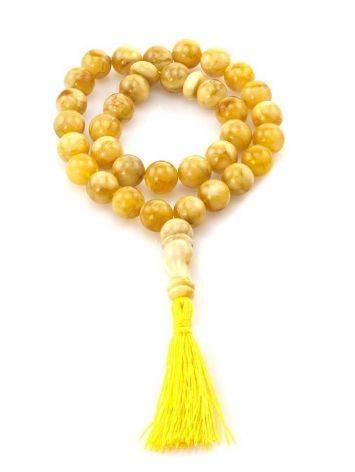Butterscotch Amber Islamic Prayer Beads With Tassel, image