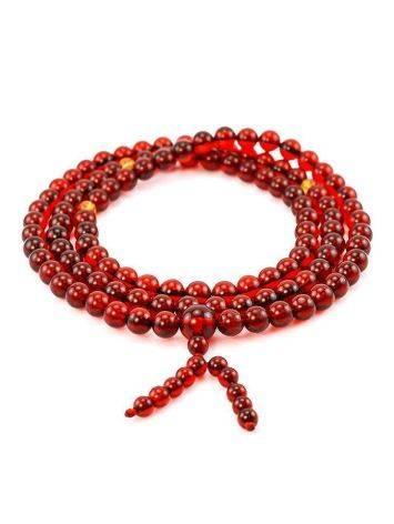 108 Cognac Amber Mala Beads With Dangle, image