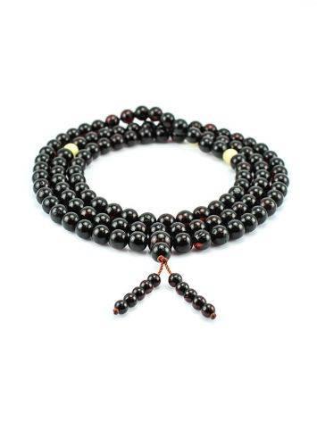 Cherry Amber Mala Prayer Beads With Dangle, image