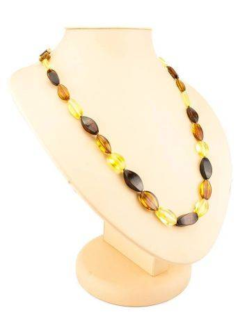 Faceted Multicolor Amber Beaded Necklace, image , picture 6