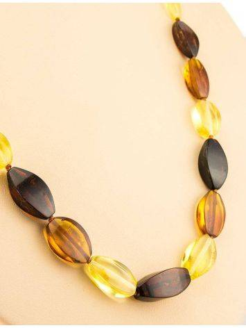 Faceted Multicolor Amber Beaded Necklace, image , picture 7