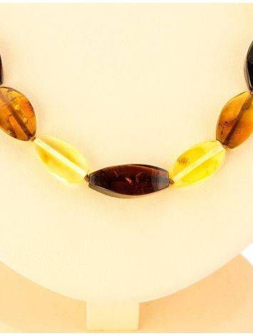 Faceted Multicolor Amber Beaded Necklace, image , picture 2