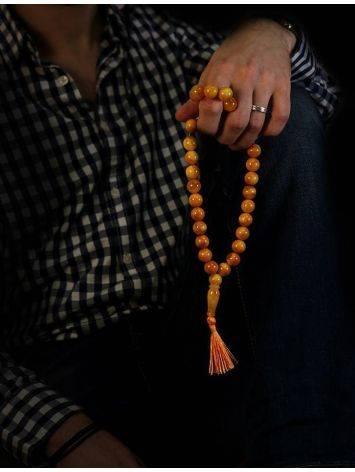 Honey Amber Muslim Prayer Beads With Tassel, image , picture 6