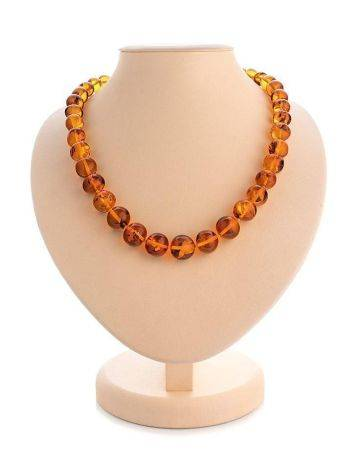 Classy Cognac Amber Ball Beaded Necklace, image