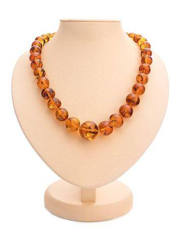 Bright Cognac Amber Ball Beaded Necklace, image