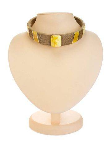 Wooden Choker Necklace With Honey Amber And Silver The Indonesia, image