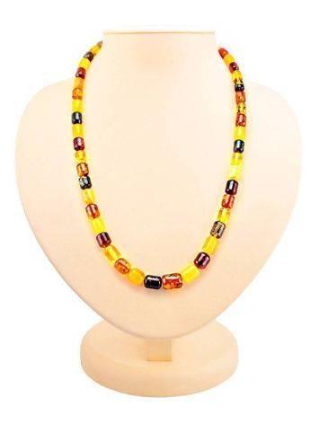 Multicolor Amber Barrel Beaded Necklace, image