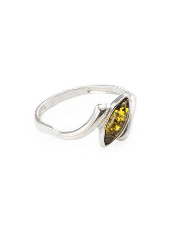 Refined Silver Ring With Amber Center Stone The Amaranth, Ring Size: 5 / 15.5, image