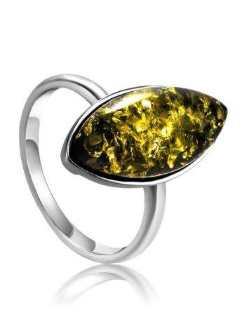 Silver Adjustable Ring With Leaf Cut Amber The Amaranth, Ring Size: Adjustable, image