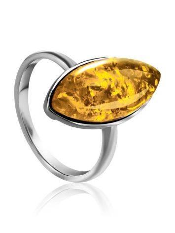 Stylish Silver Adjustable Ring With Luminous Lemon Amber The Amaranth, Ring Size: Adjustable, image
