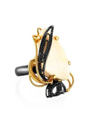 Bold Gold-Plated Cocktail Ring With Mammoth Tusk The Era, Ring Size: Adjustable, image