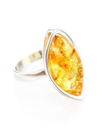 Sterling Silver Ring With Bold Amber Stone The Amaranth, Ring Size: 11 / 20.5, image