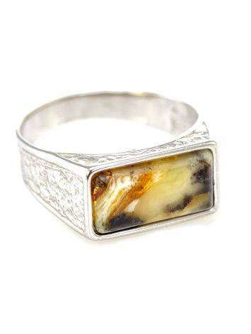 Stylish Silver Signet Ring With Amber The Cesar, Ring Size: / 22.5, image