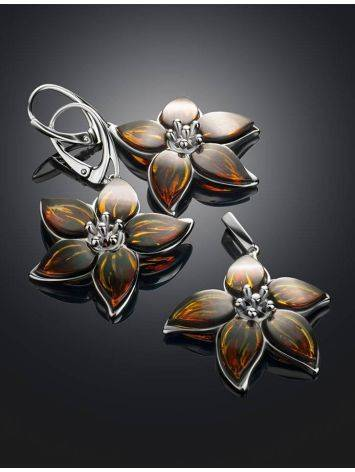 Sterling Silver Flower Dangles With Amber The April, image , picture 4