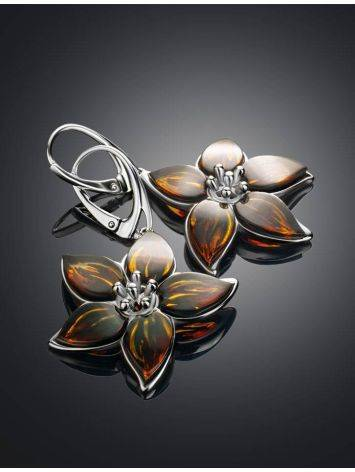 Sterling Silver Flower Dangles With Amber The April, image , picture 2