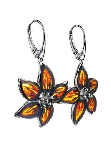 Sterling Silver Flower Dangles With Amber The April, image , picture 3