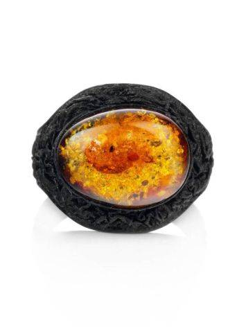 Black Leather Amber Adjustable Ring The Nefertiti, Ring Size: Adjustable, image , picture 3