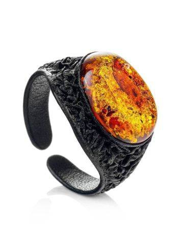 Black Leather Amber Adjustable Ring The Nefertiti, Ring Size: Adjustable, image , picture 4