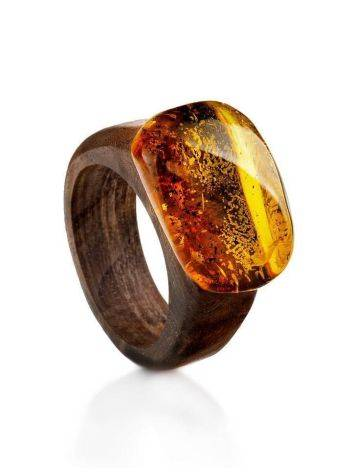 Wooden Ring With Bright Lemon Amber The Indonesia, Ring Size: 6 / 16.5, image