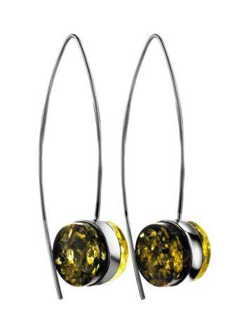 Bold Silver Threaded Earrings With Green Amber The Furor, image