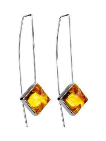 Sterling Silver Threader Earrings With Lemon Amber The Ovation, image
