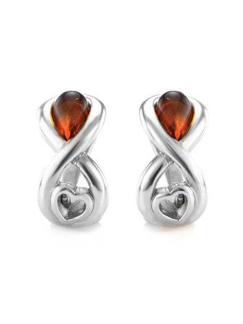 Cute Silver Amber Earrings The Amour, image