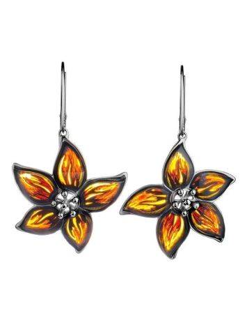 Sterling Silver Flower Dangles With Amber The April, image