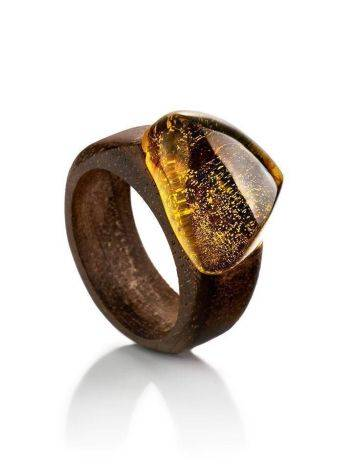 Ethnic Wooden Amber Ring The Indonesia, Ring Size: 7 / 17.5, image