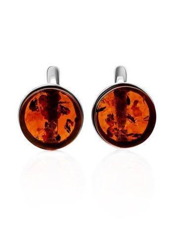 Cognac Amber Silver Earrings The Furor, image