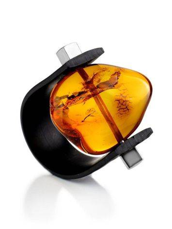 Unisex Rubber Ring With Bright Amber The Grunge, Ring Size: / 23, image