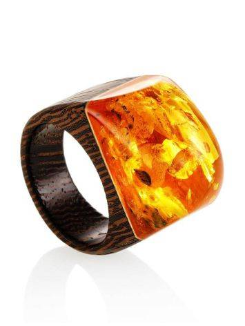 Cognac Amber Wooden Ring The Indonesia, Ring Size: 9.5 / 19.5, image