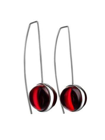 Silver Threader Earrings With Red Amber The Sorbonne, image