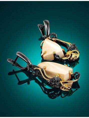 Voluptuous Gold-Plated Dangle Earrings With Mammoth Ivory The Era, image , picture 2