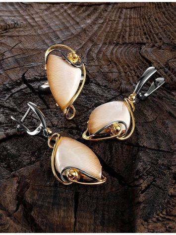 Stunning Gold-Plated Drop Earrings With Genuine Mammoth Ivory The Era, image , picture 4