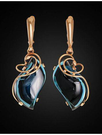 Golden Drop Earrings With Synthetic Topazes The Serenade, image , picture 2