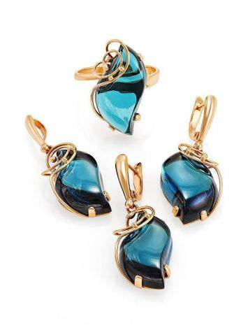Golden Drop Earrings With Synthetic Topazes The Serenade, image , picture 4