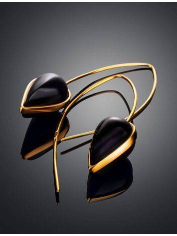 Gold Plated Hook Earrings With Cherry Amber The Pulse, image , picture 2