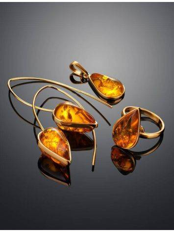 Gold Plated Hook Earrings With Cognac Amber The Pulse, image , picture 6