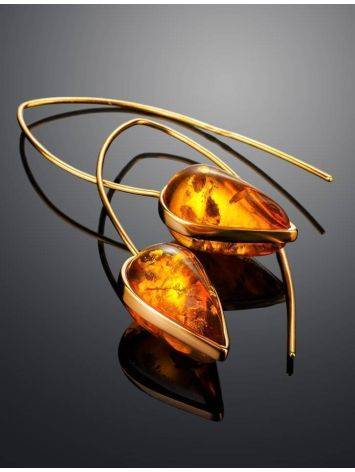 Gold Plated Hook Earrings With Cognac Amber The Pulse, image , picture 2