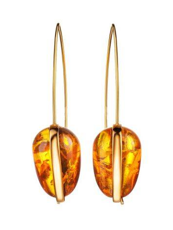 Gold Plated Hook Earrings With Cognac Amber The Pulse, image , picture 4